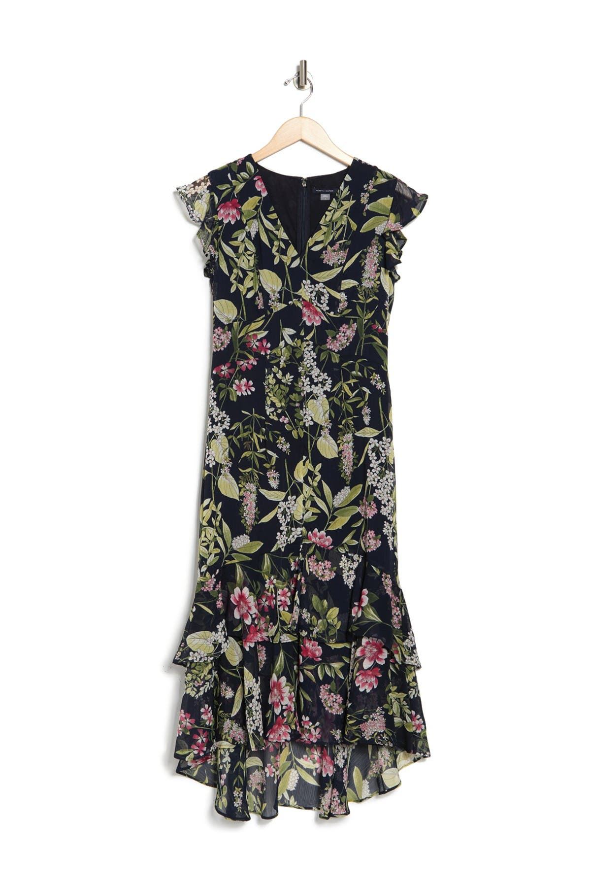 Image of Tommy Hilfiger Floral Ruffled Chiffon High/Low Dress