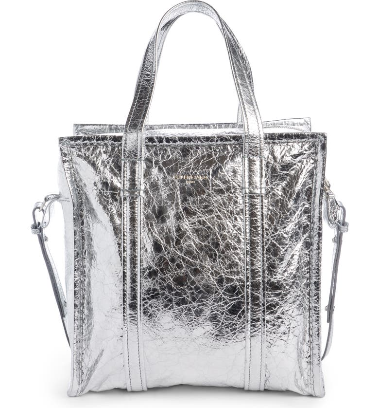 BALENCIAGA Small Bazar Leather Shopper, Main, color, ARGENT