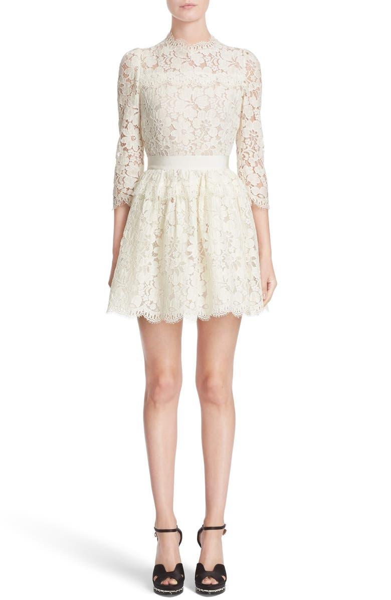 ALEXANDER MCQUEEN Floral Lace Dress, Main, color, 101