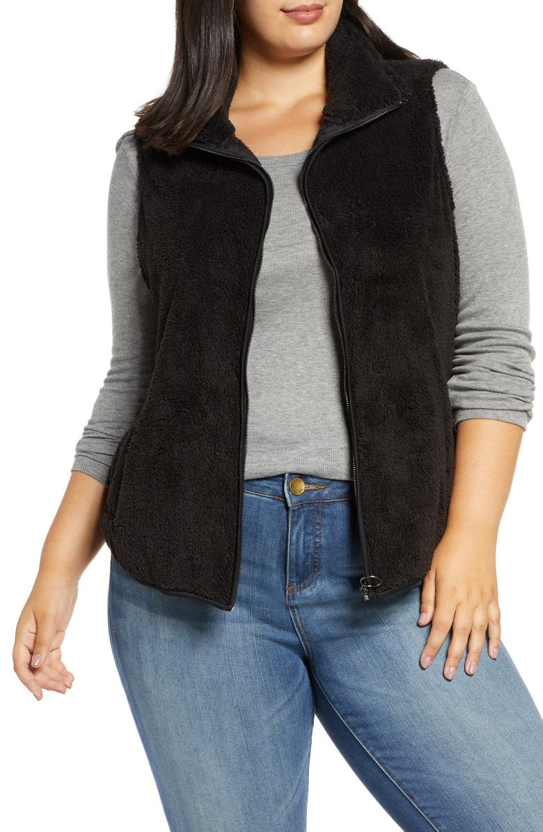 BOBEAU Cozy Faux Shearling Vest, Main, color, BLACK