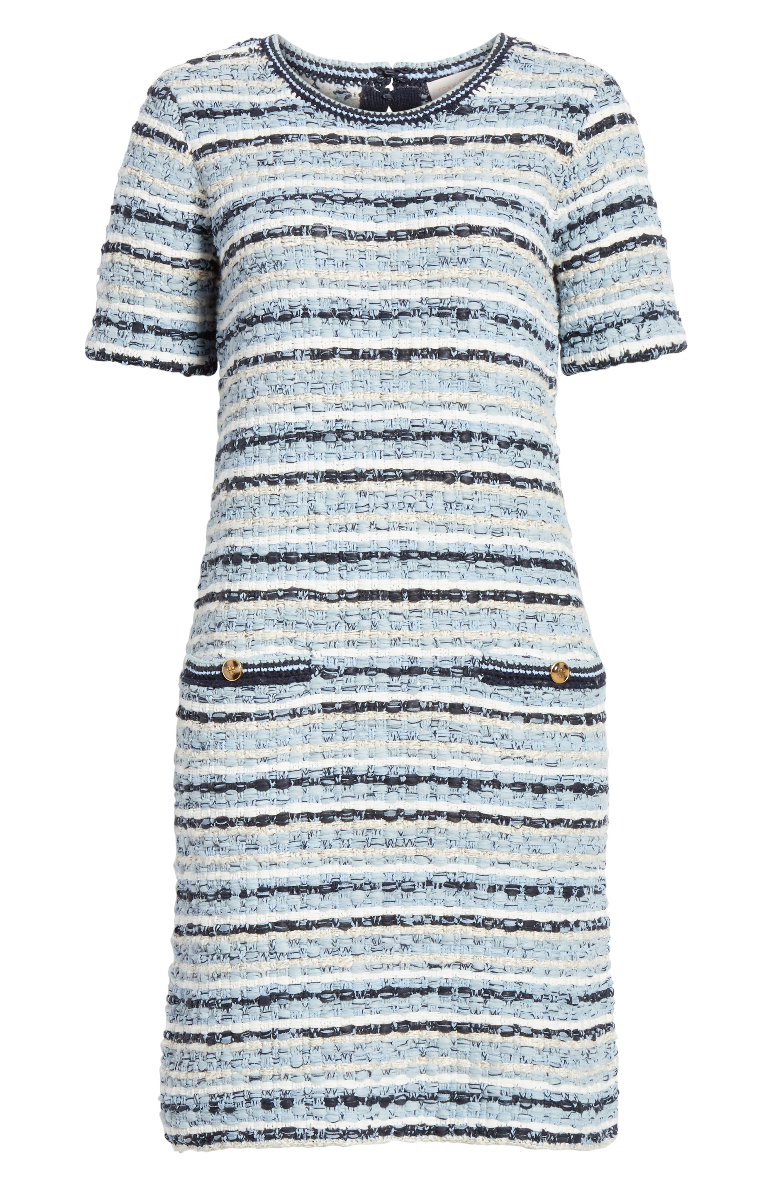 ,                             Tweed Shift Dress,                             Alternate thumbnail 7, color,                             BLUE MULTI TWEED