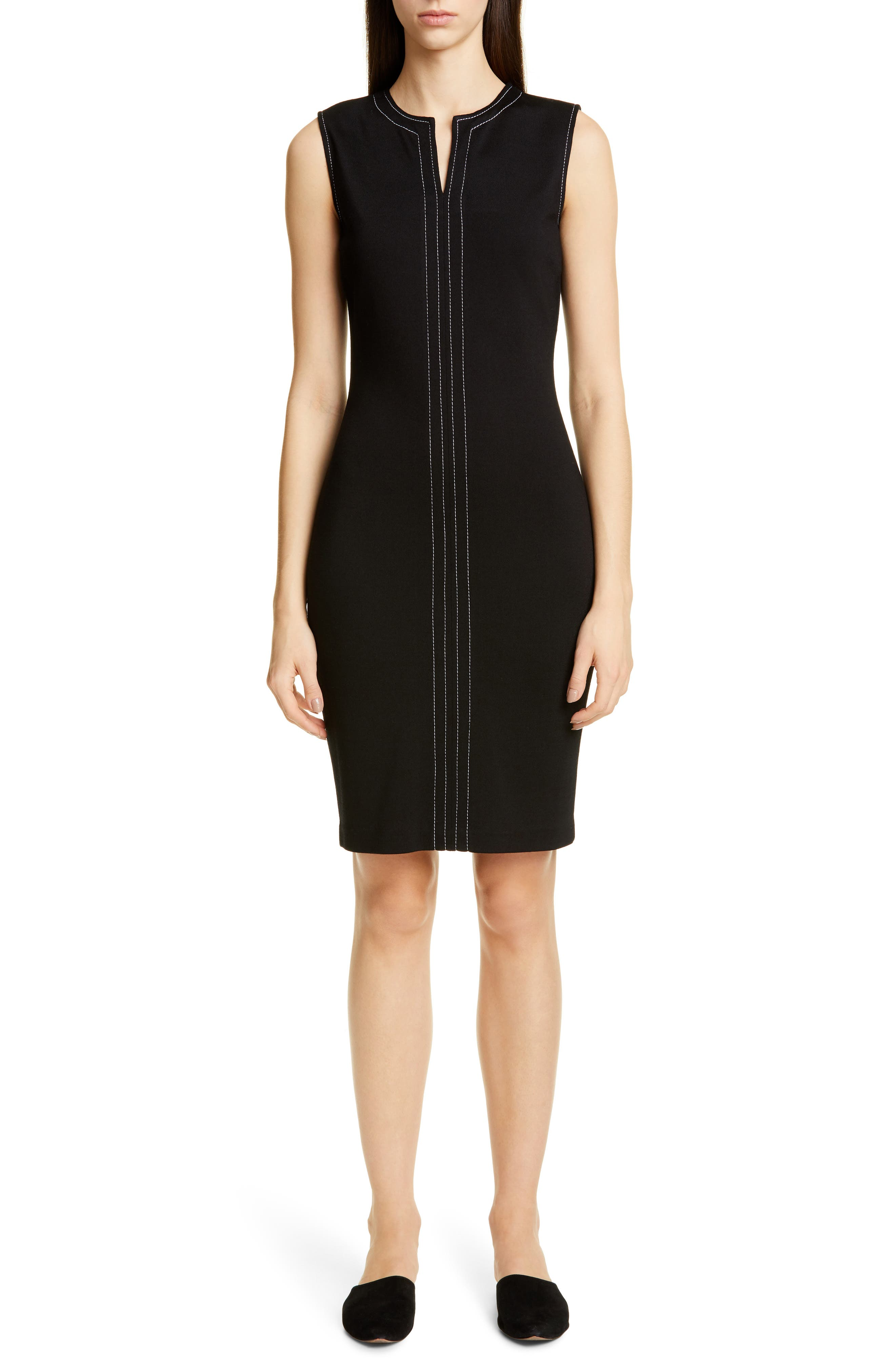 St. John Collection Defined Topstitching Milano Knit Dress, Black
