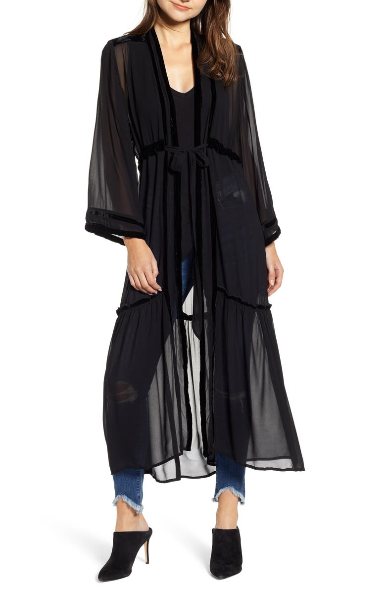 NEW FRIENDS COLONY Black Widow Sheer Duster, Main, color, BLACK / BLACK VELVET