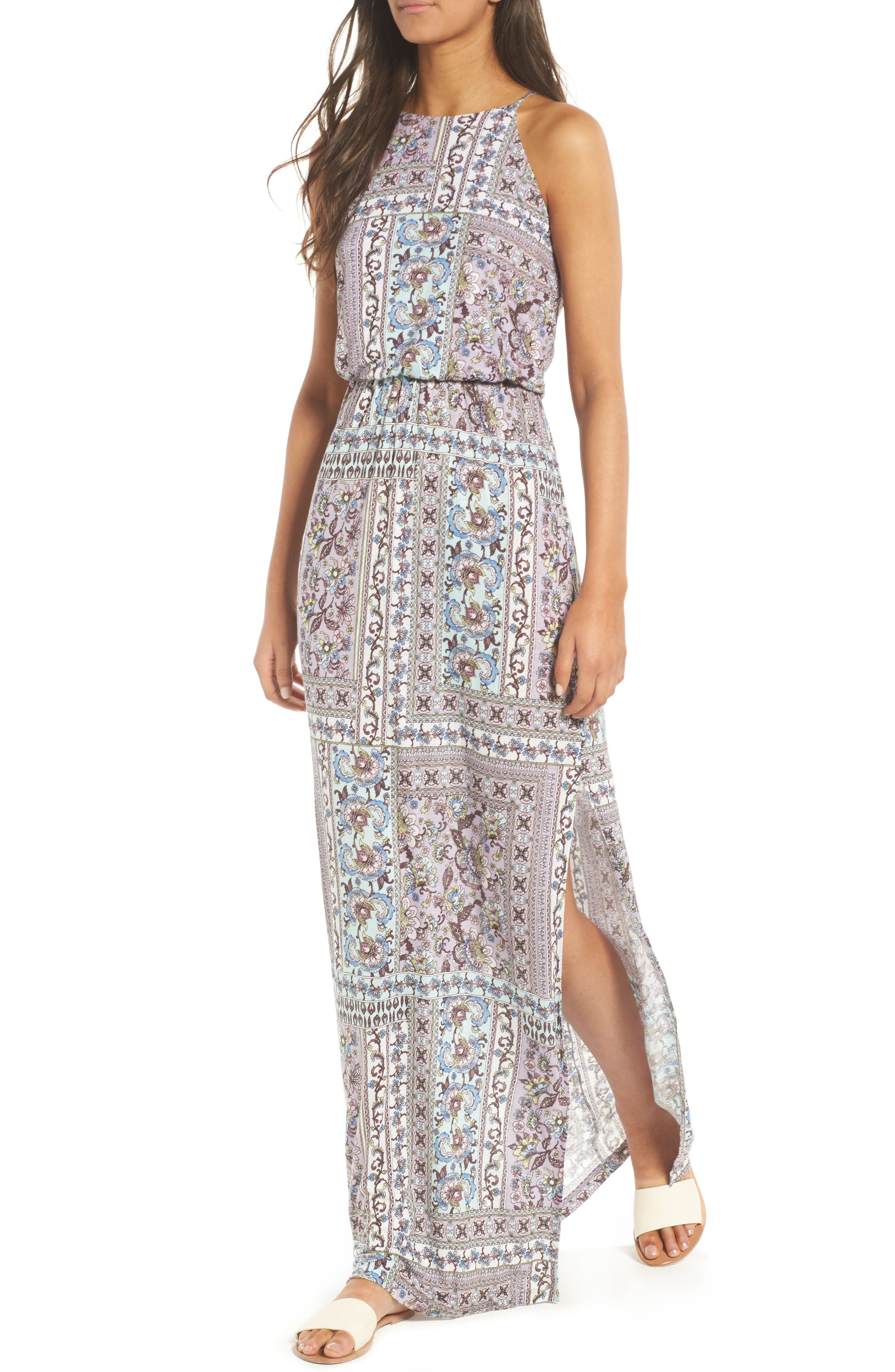 ,                             High Neck Maxi Dress,                             Alternate thumbnail 44, color,                             020