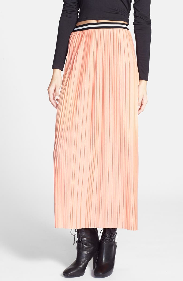 TOPSHOP Pleated Jersey Maxi Skirt, Main, color, 950