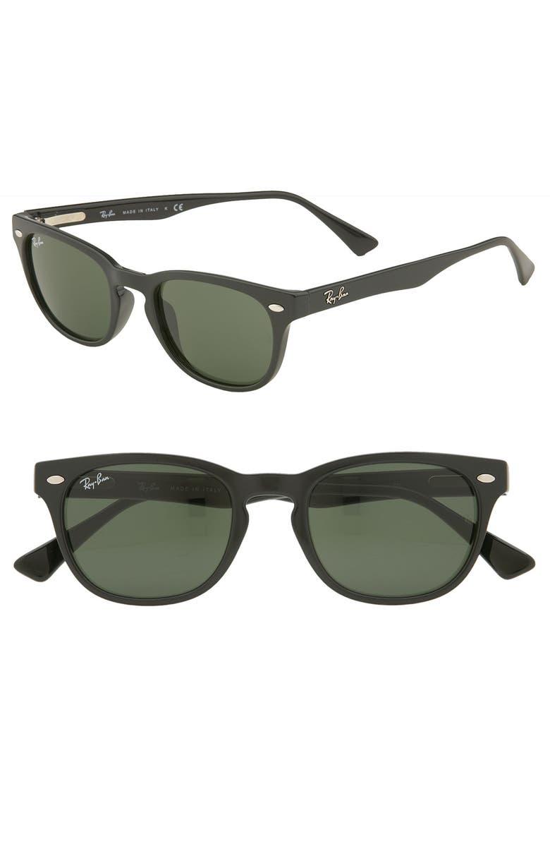 RAY-BAN Retro Wayfarer Sunglasses, Main, color, BLACK