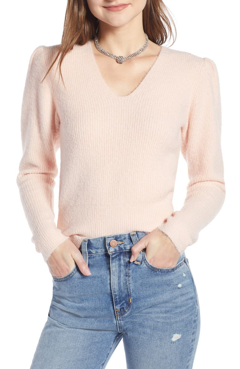 SOMETHING NAVY Puff Sleeve Sweater, Main, color, 680