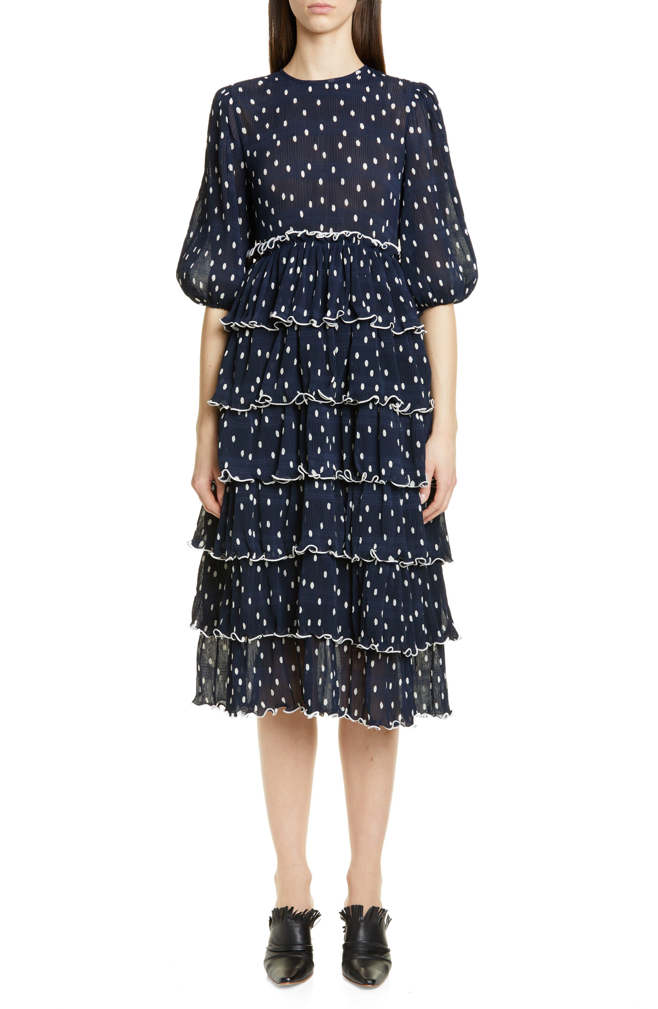 Ganni Pleated Georgette Midi Dress, Blue