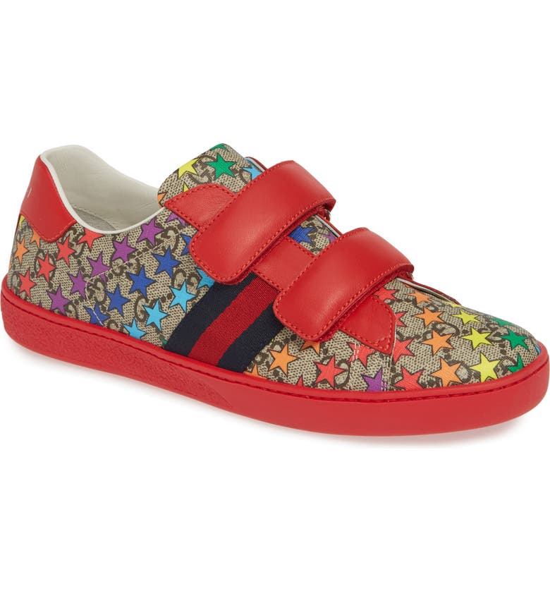 GUCCI New Ace Sneaker, Main, color, RED/ BEIGE/ EBONY