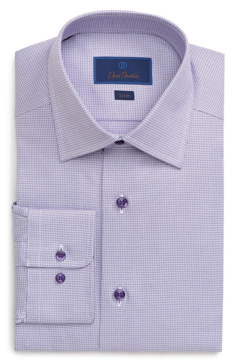 DAVID DONAHUE Slim Fit Crosshatch Pattern Dress Shirt, Main, color, PURPLE