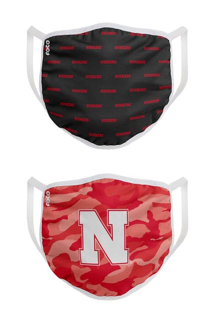 Image of FOCO NCAA Nebraska Clutch Printed Face Cover - Pack of 2