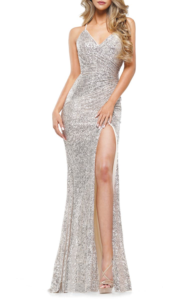 COLORS DRESS Sequin Stripe Mermaid Gown, Main, color, NUDE