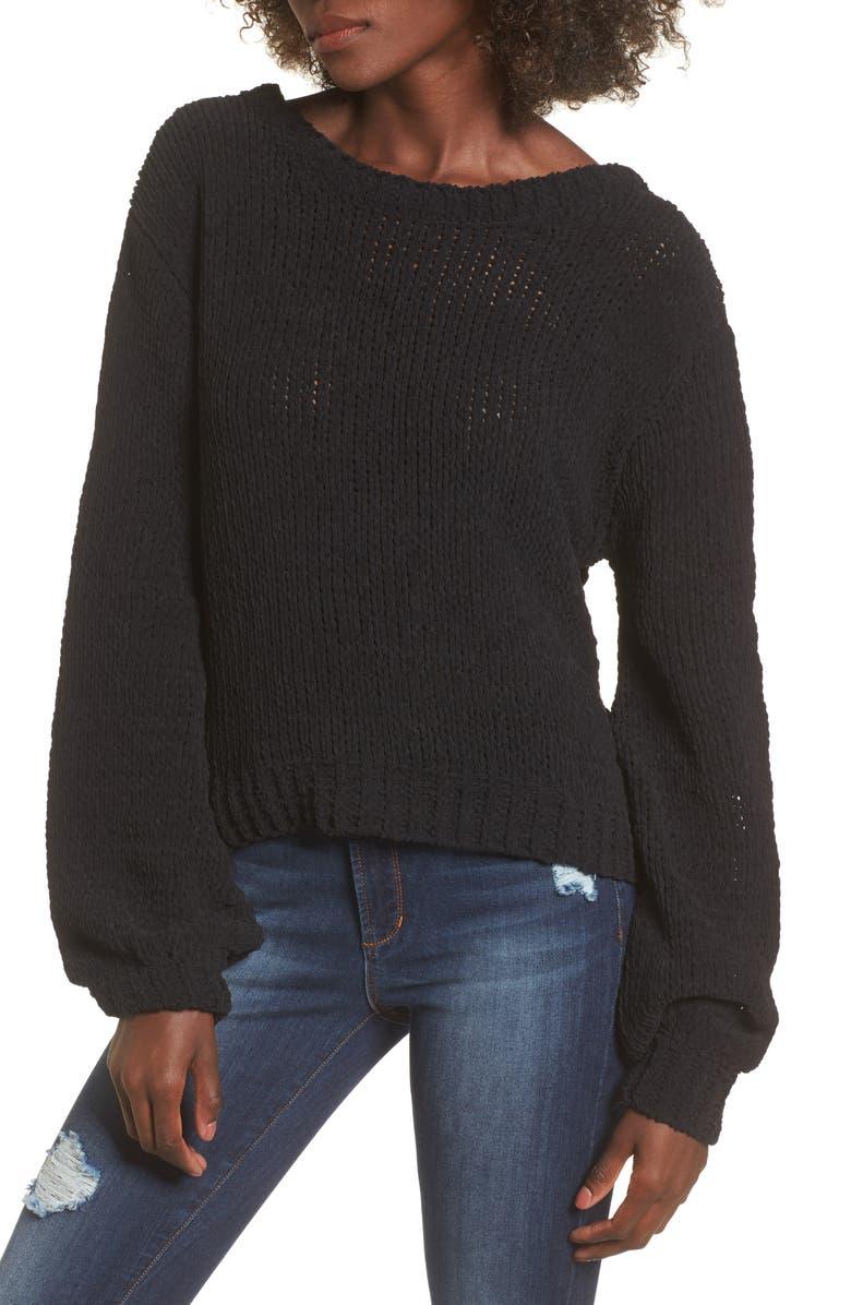 J.O.A. Strappy Sweater, Main, color, 001
