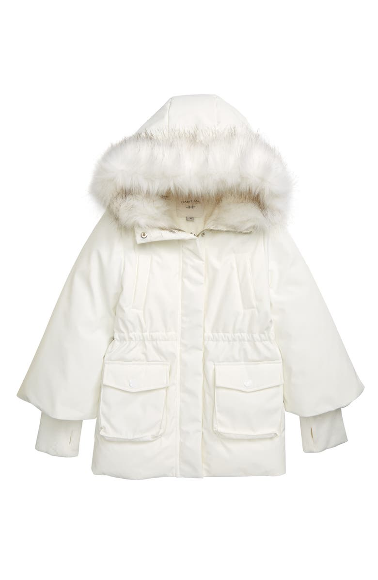 HABITUAL GIRL Habitual Emmerson Parka with Faux Fur Trim Hood, Main, color, WHITE