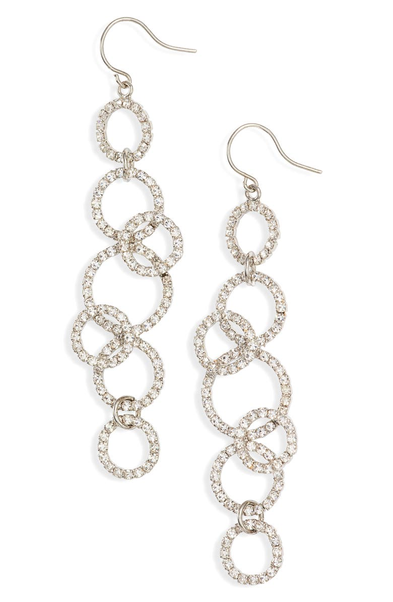 CRISTABELLE Crystal Ring Linear Drop Earrings, Main, color, CRYSTAL