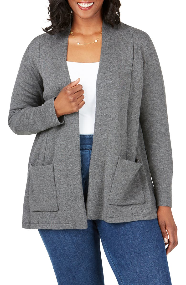 FOXCROFT Bethane Jersey Cardigan, Main, color, CHARCOAL