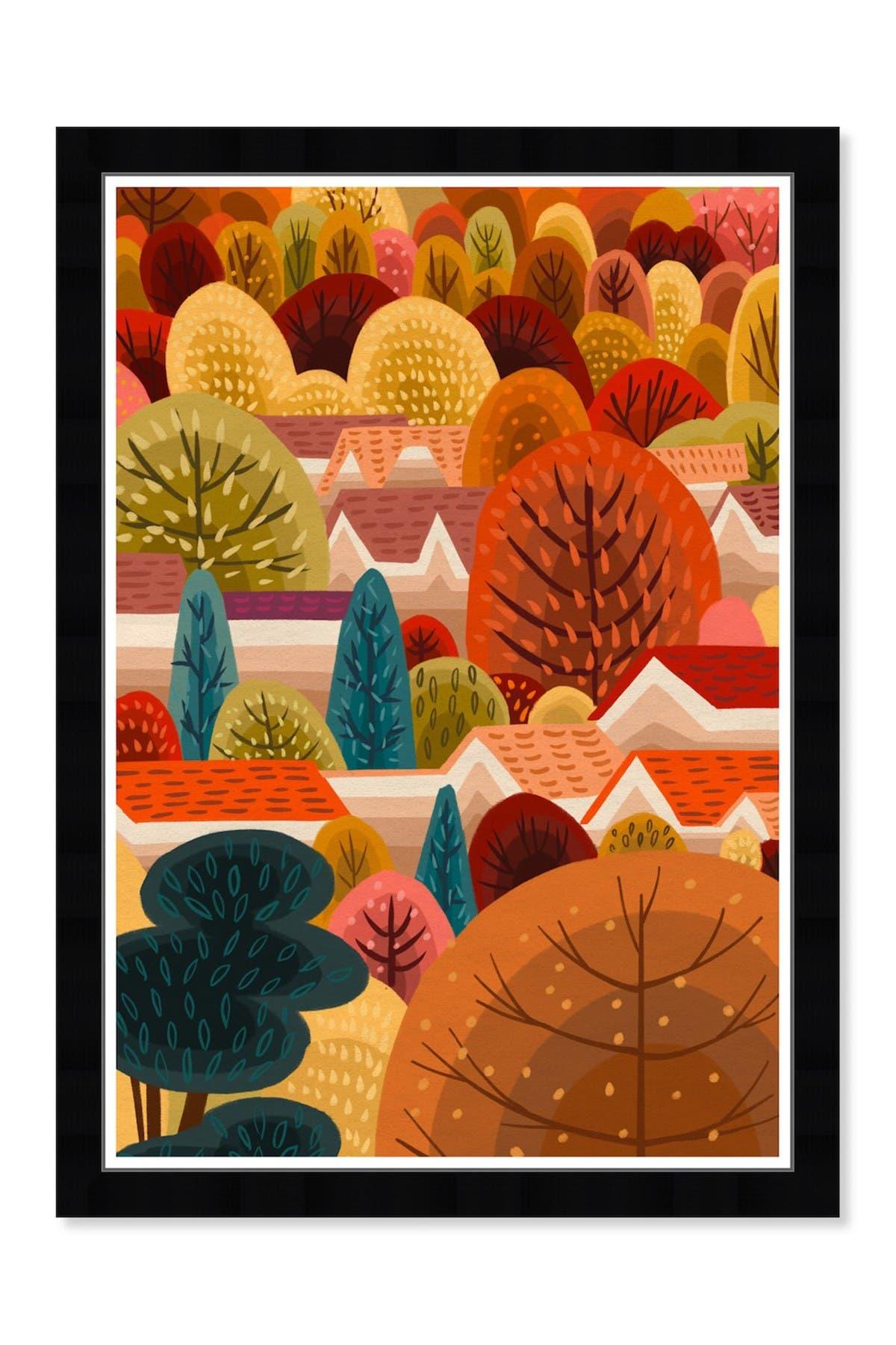 Image of Wynwood Studio Fall Town Orange Holiday Framed Wall Art