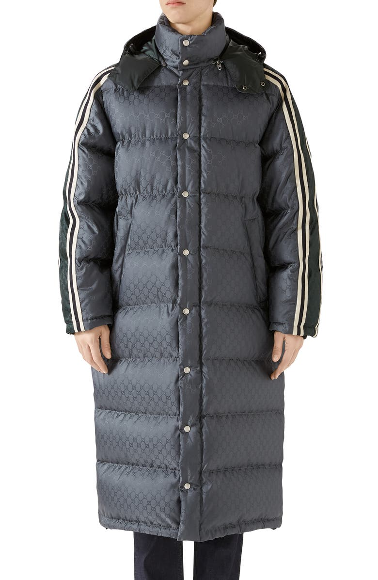 GUCCI GG Jacquard Quilted Down Nylon Coat, Main, color, PLATINUM/MIX