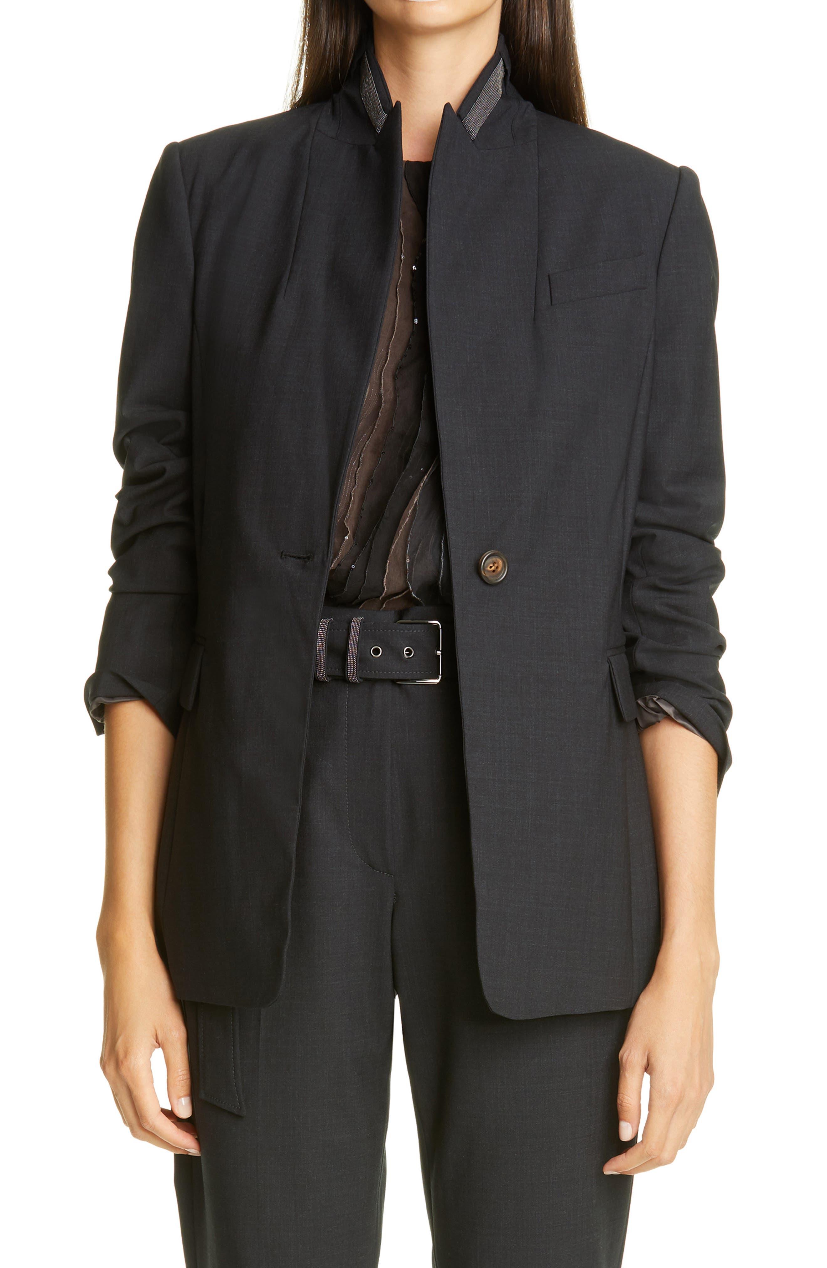 Image of Brunello Cucinelli Monili Stand Collar Wool Blend Jacket