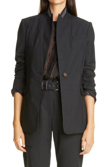 Image of Brunello Cucinelli Monili Stand Collar Wool Blend Jacket
