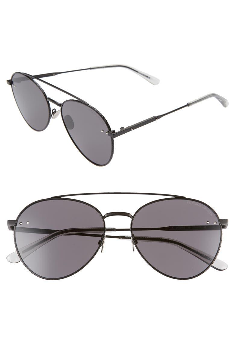 BOTTEGA VENETA 58mm Aviator Sunglasses, Main, color, BLACK/ GREY