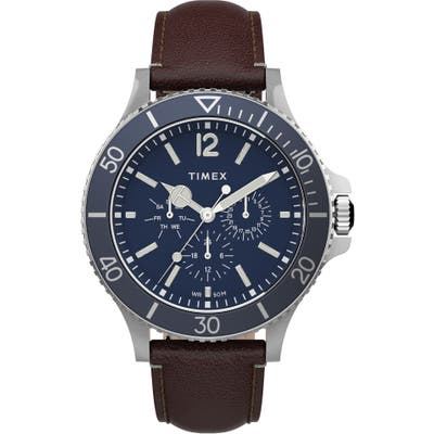 Timex Harborside Leather Strap Watch, 42mm