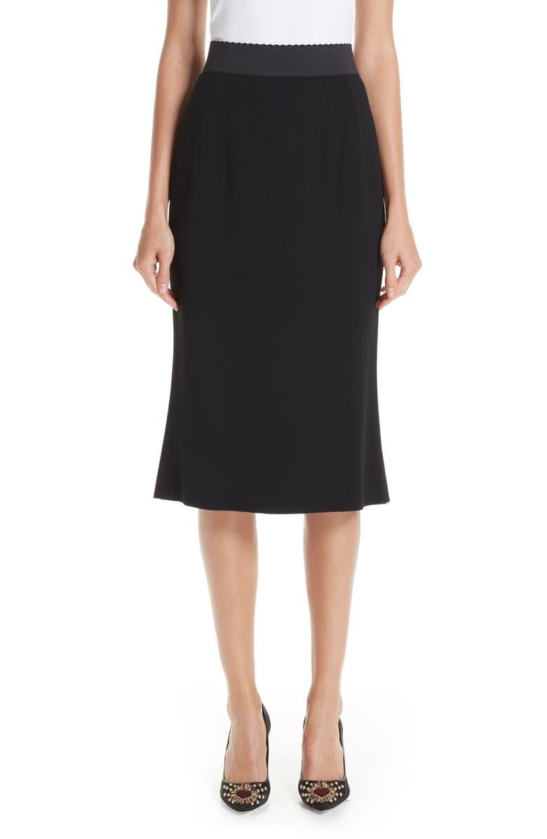 DOLCE&GABBANA Stretch Cady Pencil Skirt, Main, color, BLACK