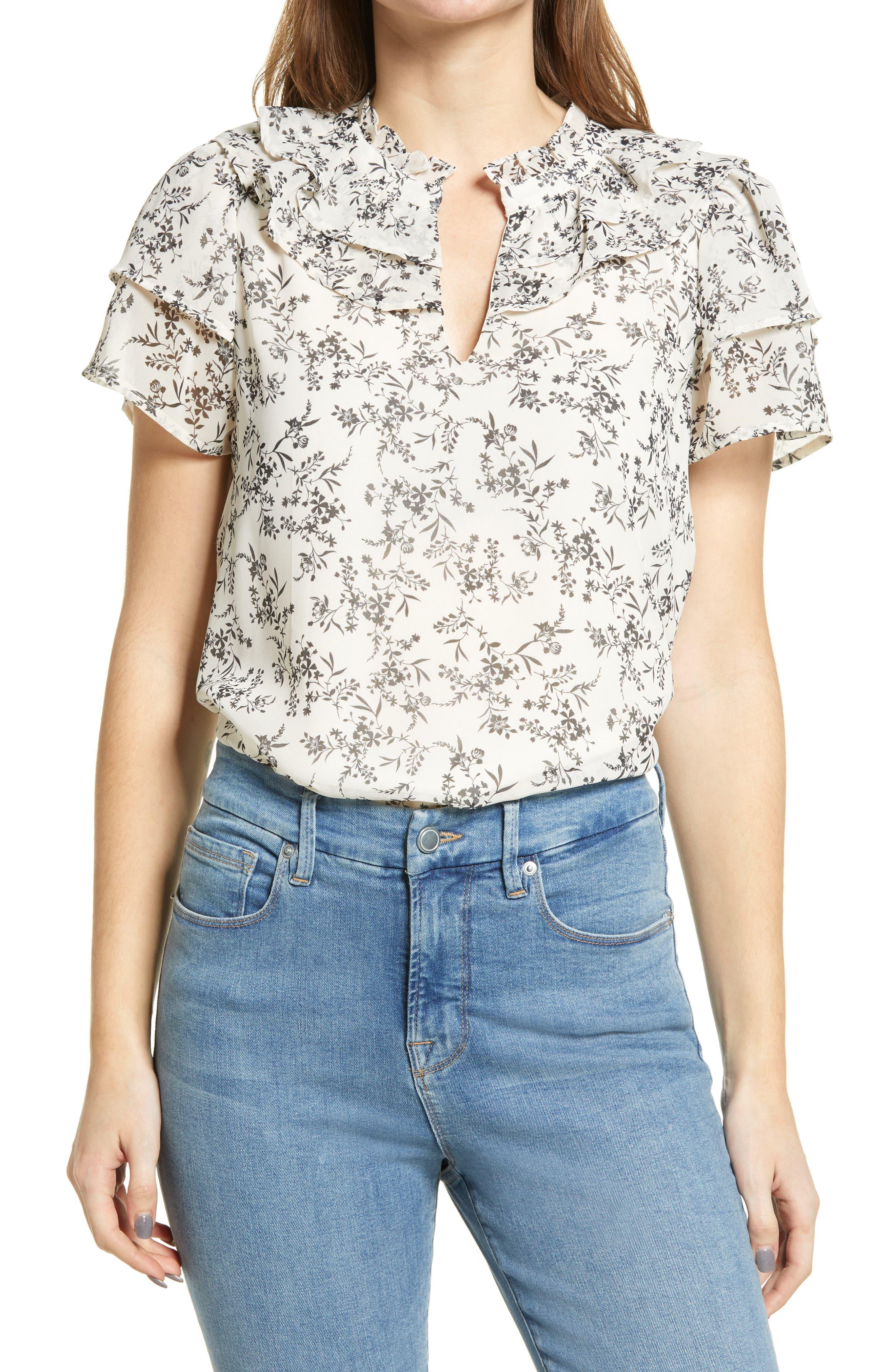 Floral Flutter Sleeve Chiffon Top