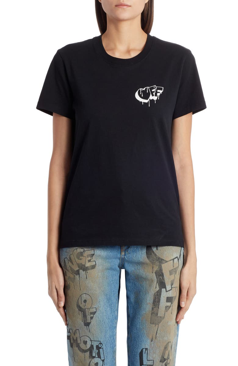 OFF-WHITE Markers Tee, Main, color, BLACK WHITE