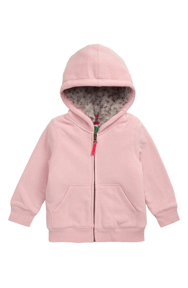 MINI BODEN Shaggy Lined Hoodie, Main, color, LPK LIGHT PINK