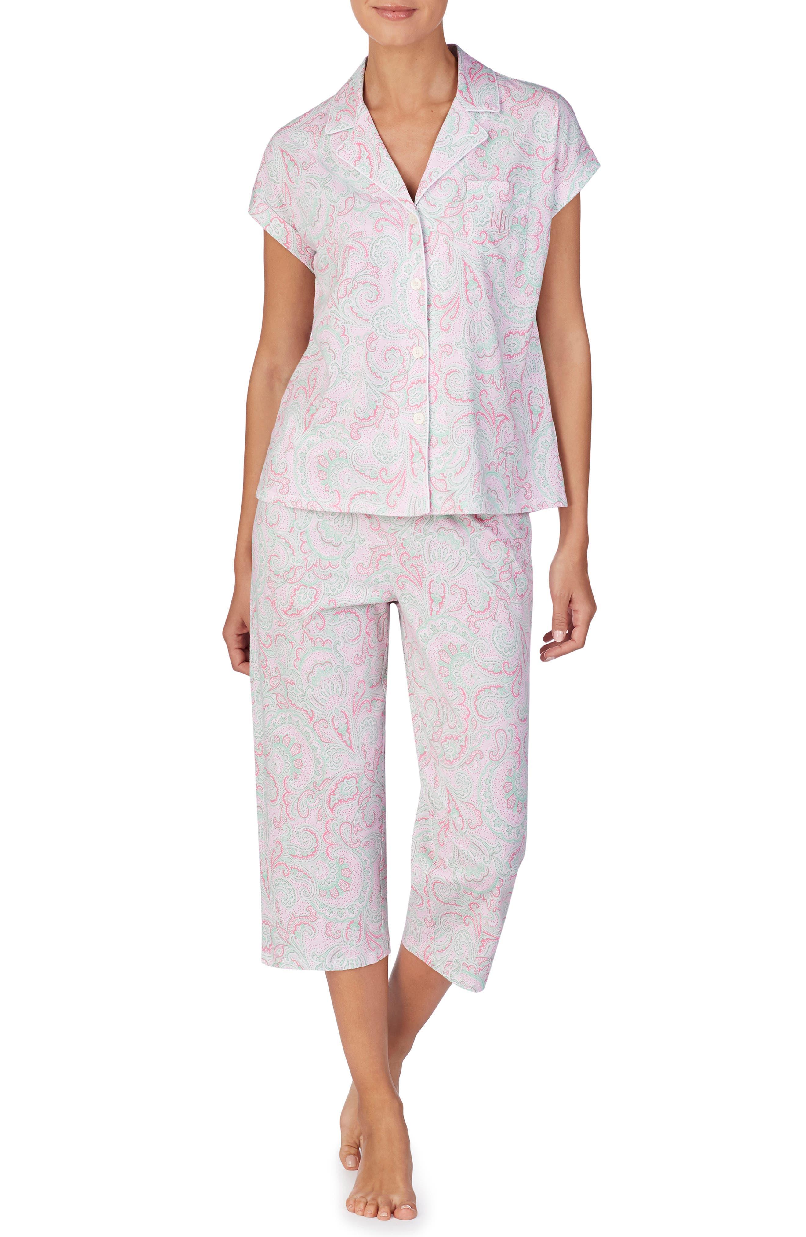 Plus Size Lauren Ralph Lauren Capri Pajamas, Pink