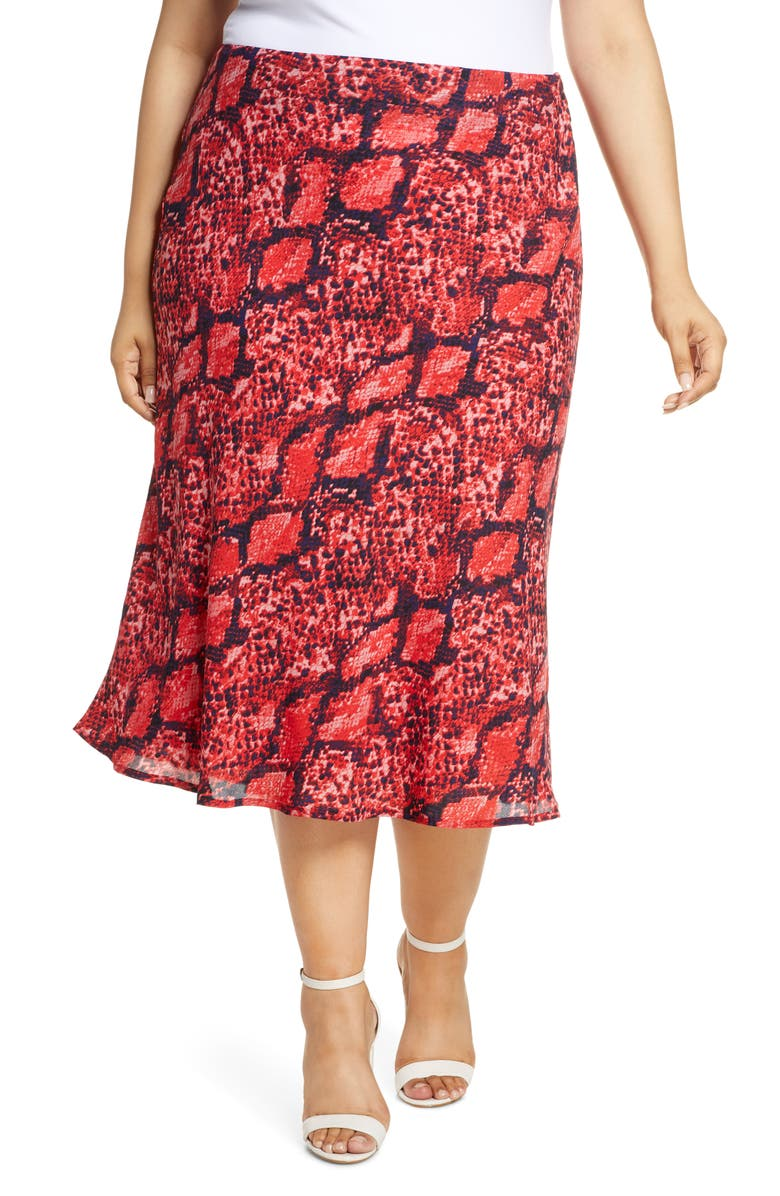 GIBSON x Hot Summer Nights Roselyn Print Midi Skirt, Main, color, RED SNAKE