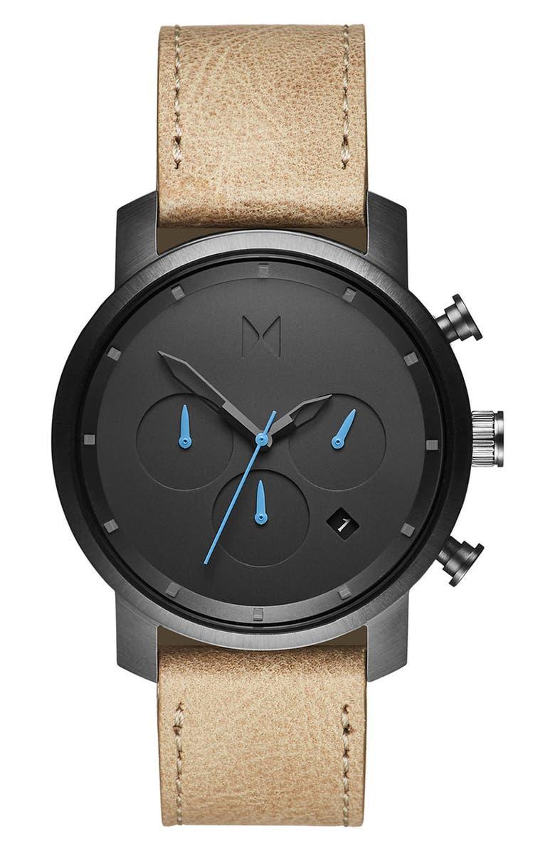 MVMT Chronograph Leather Strap Watch, 40mm, Main, color, SANDSTONE/ GUNMETAL