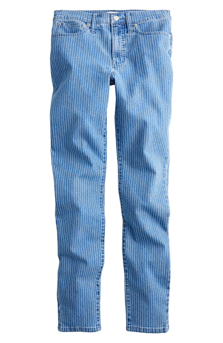 J.CREW High Waist Pinstripe Toothpick Jeans, Main, color, 400