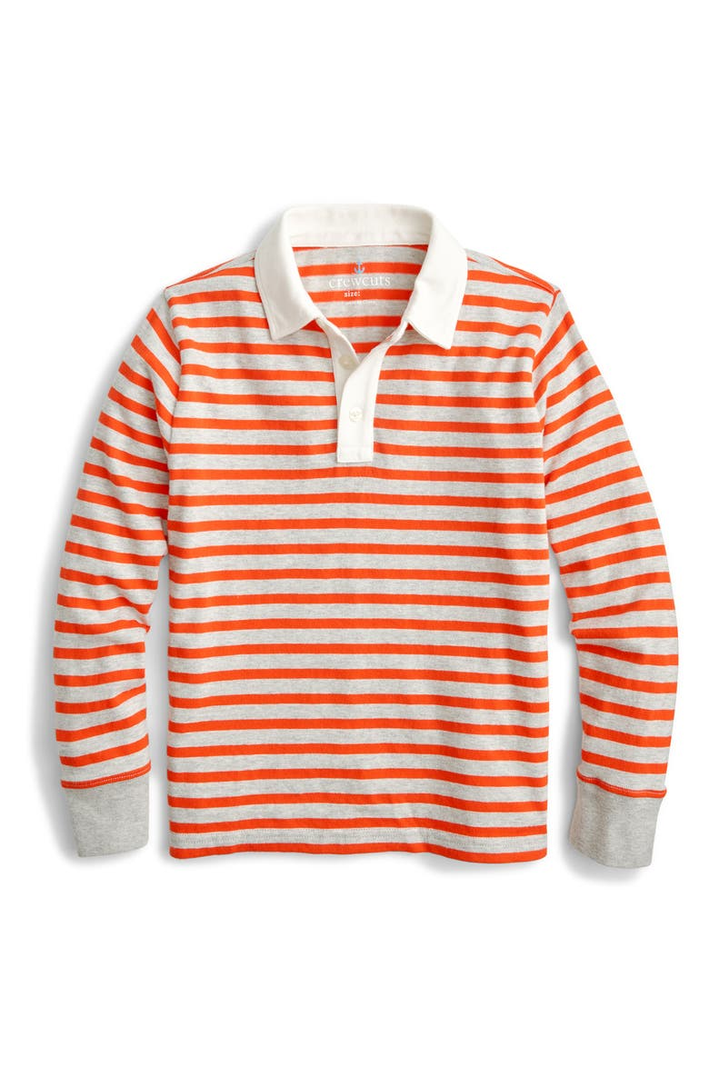 CREWCUTS BY J.CREW Elbow Patch Rugby Shirt, Main, color, RED DUSK STRIPE