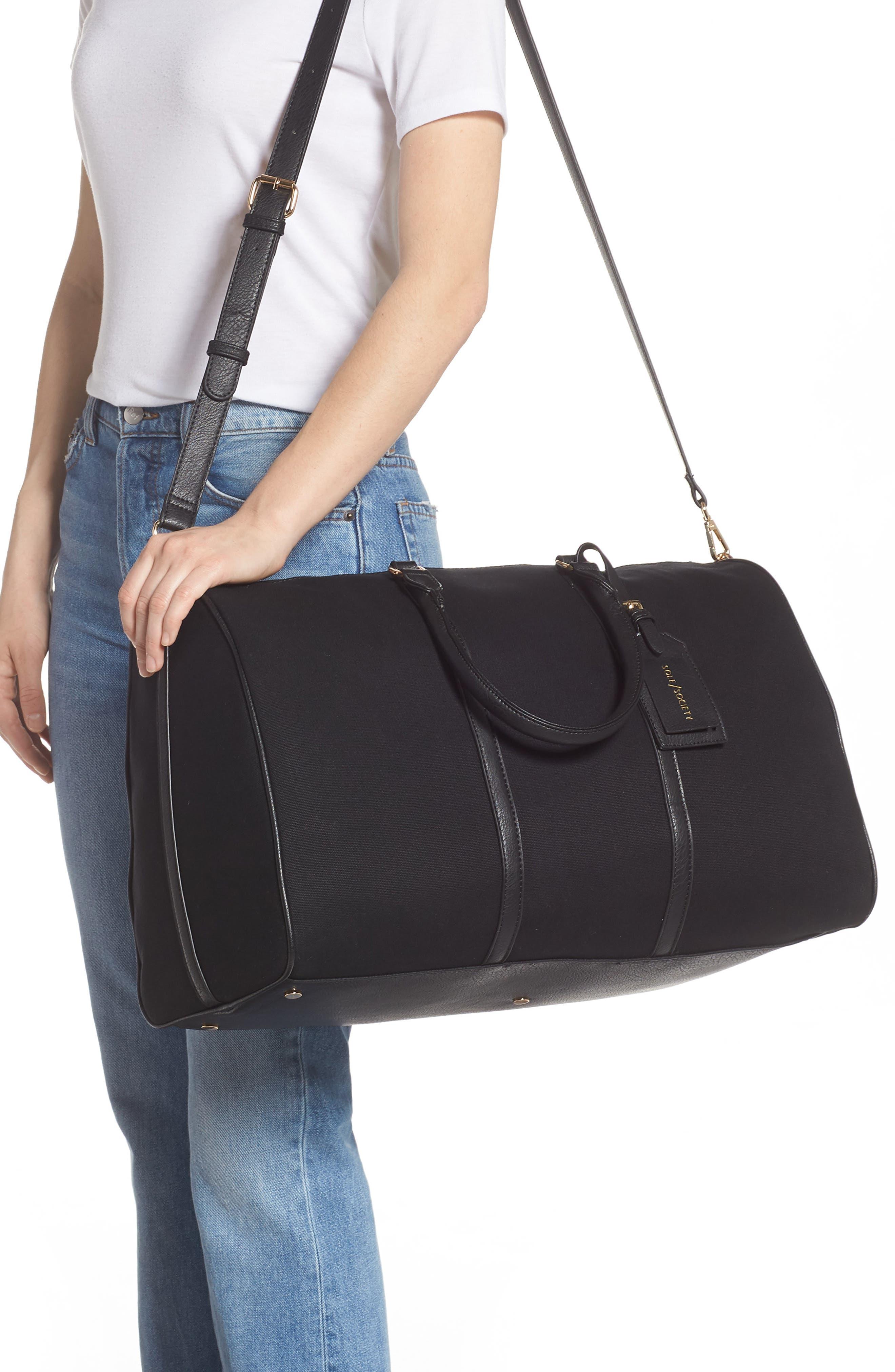 ,                             Lacie Faux Leather Duffle Bag,                             Alternate thumbnail 2, color,                             BLACK CANVAS