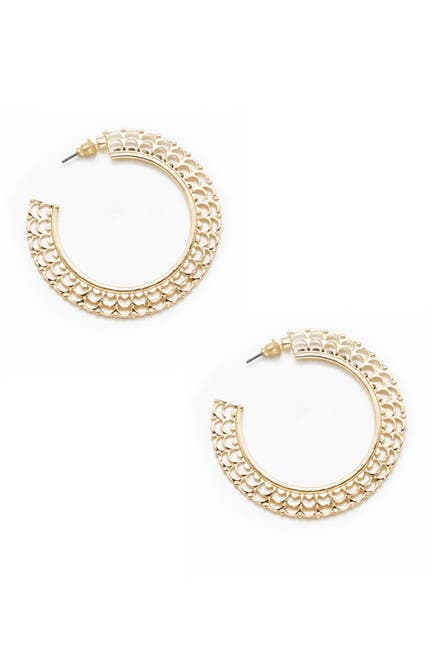 Image of Ettika Ornate Gold Flat 50mm Hoop Earrings