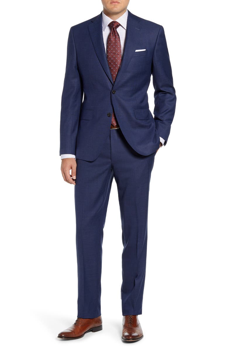 DAVID DONAHUE Ryan Classic Fit Check Wool Suit, Main, color, BLUE