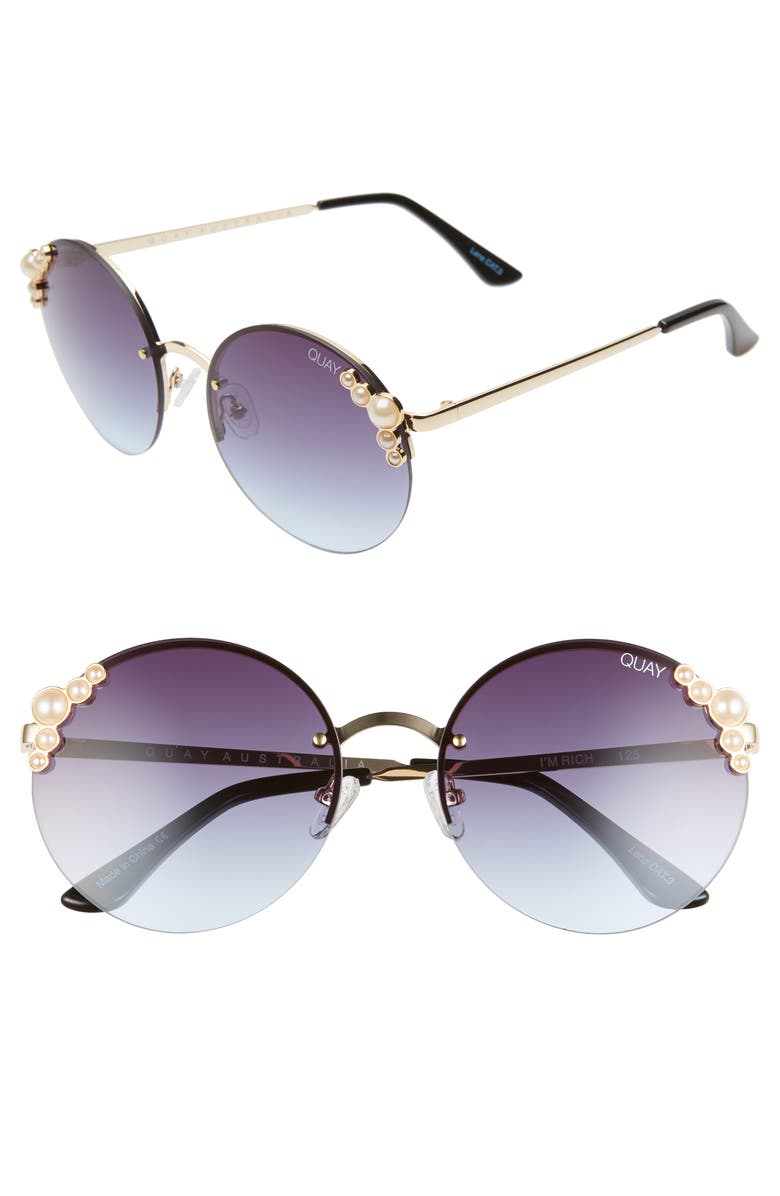 QUAY AUSTRALIA I'm Rich 57mm Rimless Gradient Round Sunglasses, Main, color, 400