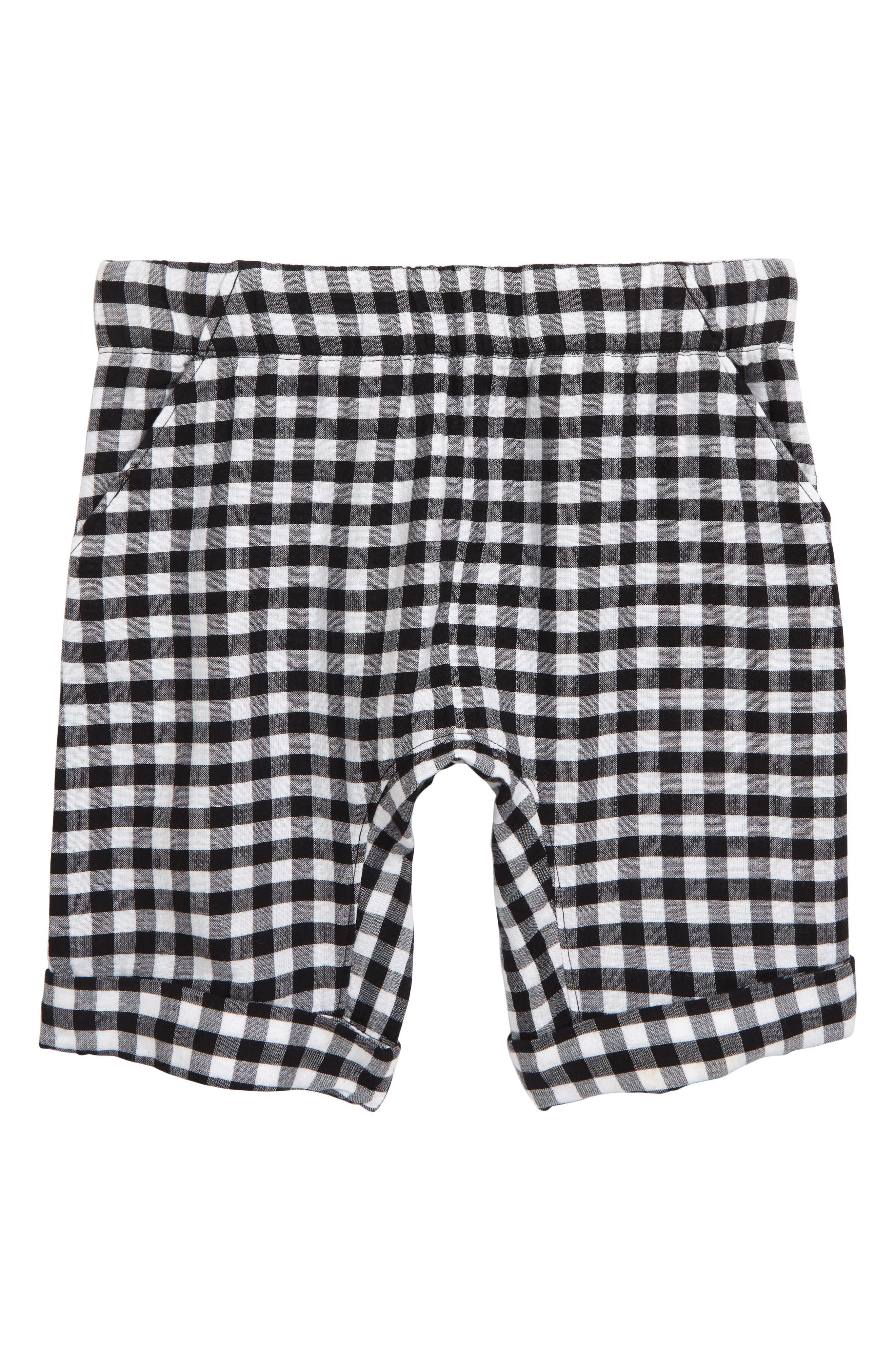 ,                             Check Shorts,                             Main thumbnail 1, color,                             BLACK- WHITE GINGHAM