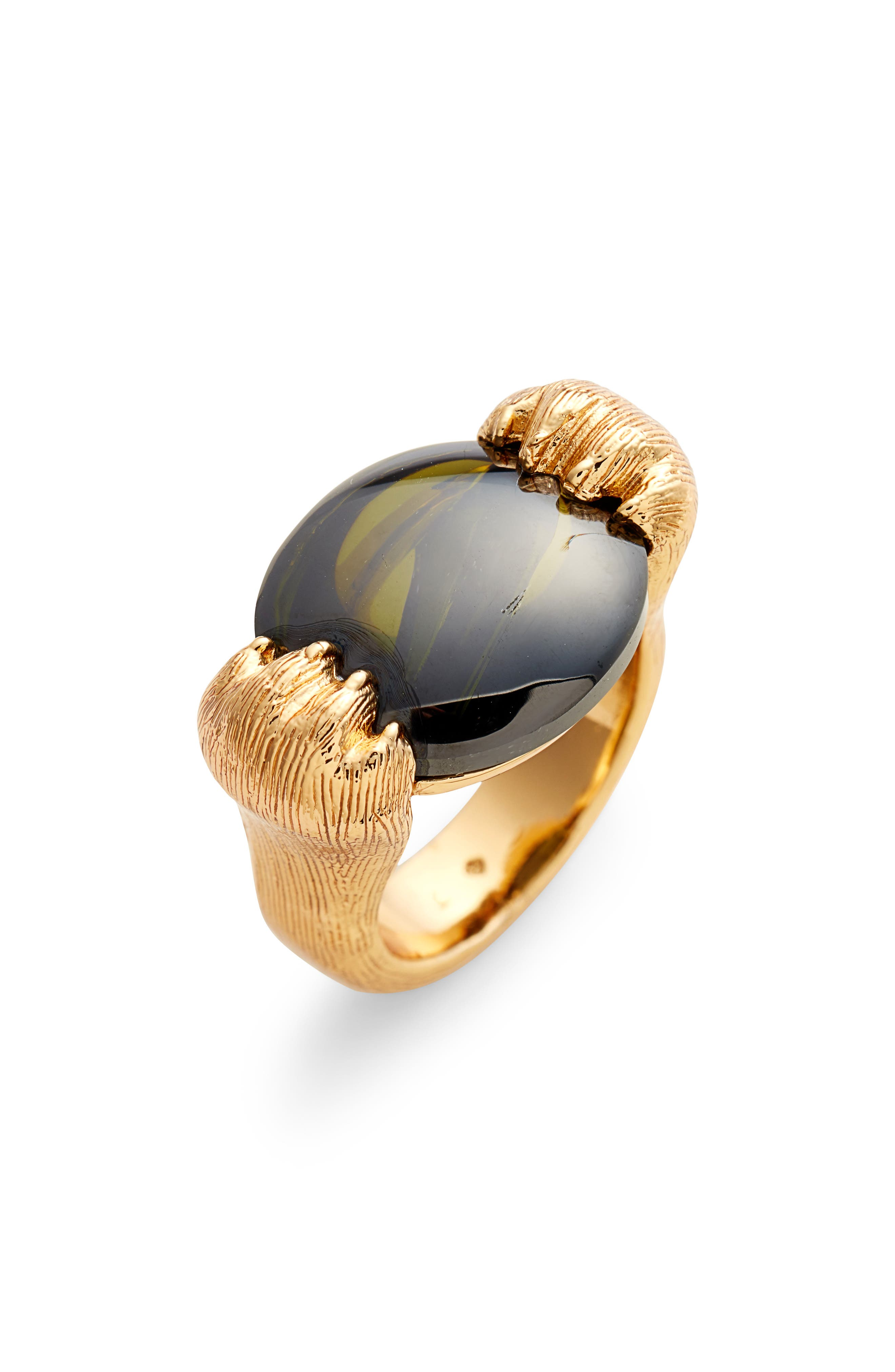 Kate Spade New York Jewelry house cat double paw cocktail ring