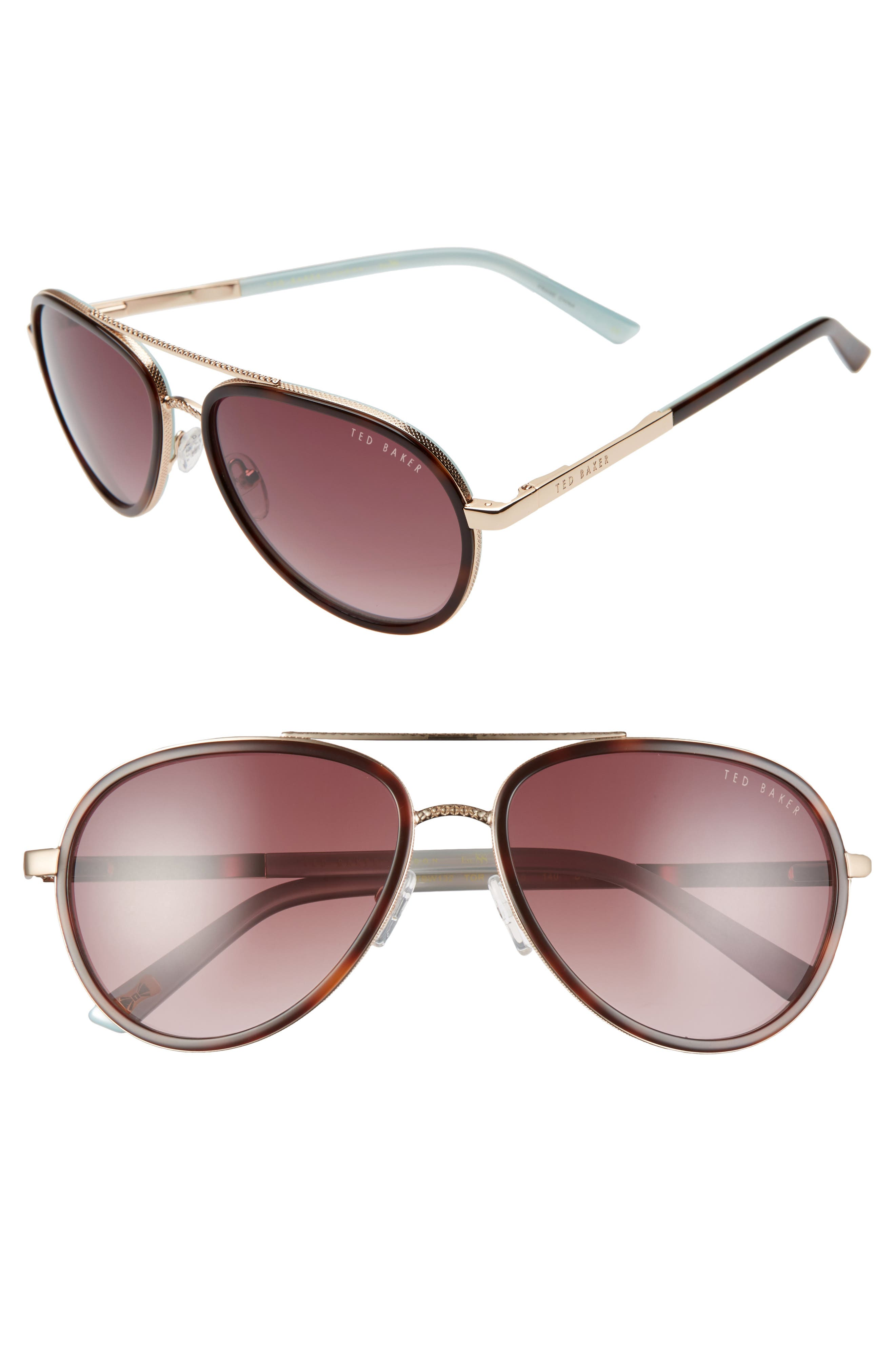 Textured metal frames add interest to double-bridge aviator sunglasses with a classic teardrop silhouette. Style Name: Ted Baker London 58mm Aviator Sunglasses. Style Number: 5987441. Available in stores.
