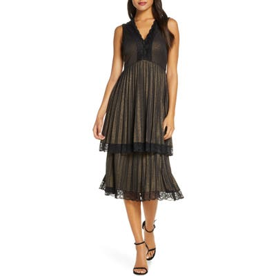 Taylor Dresses Pleated Double Tiered Dress, Metallic
