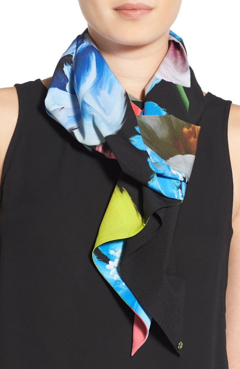 TED BAKER LONDON 'Forget Me Not' Skinny Scarf, Main, color, 001