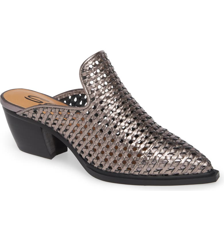 SBICCA Louise Woven Mule, Main, color, PEWTER LEATHER