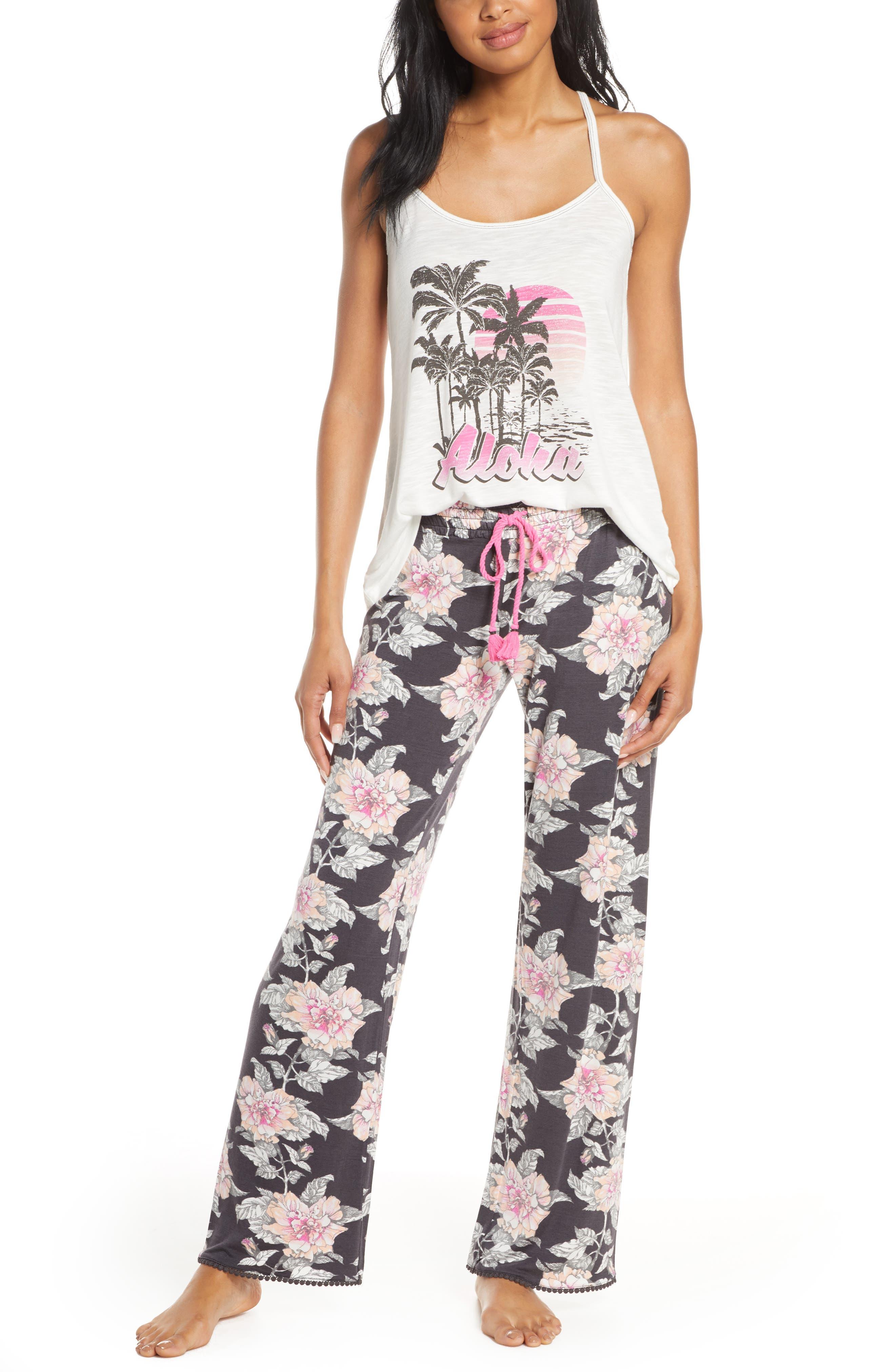 PJ Salvage Tropical Print Racerback Pajamas
