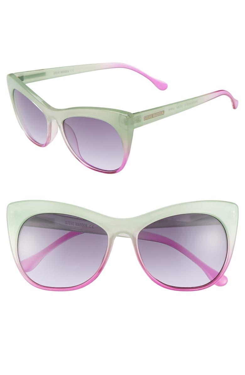 STEVE MADDEN 55mm Cat Eye Sunglasses, Main, color, 300