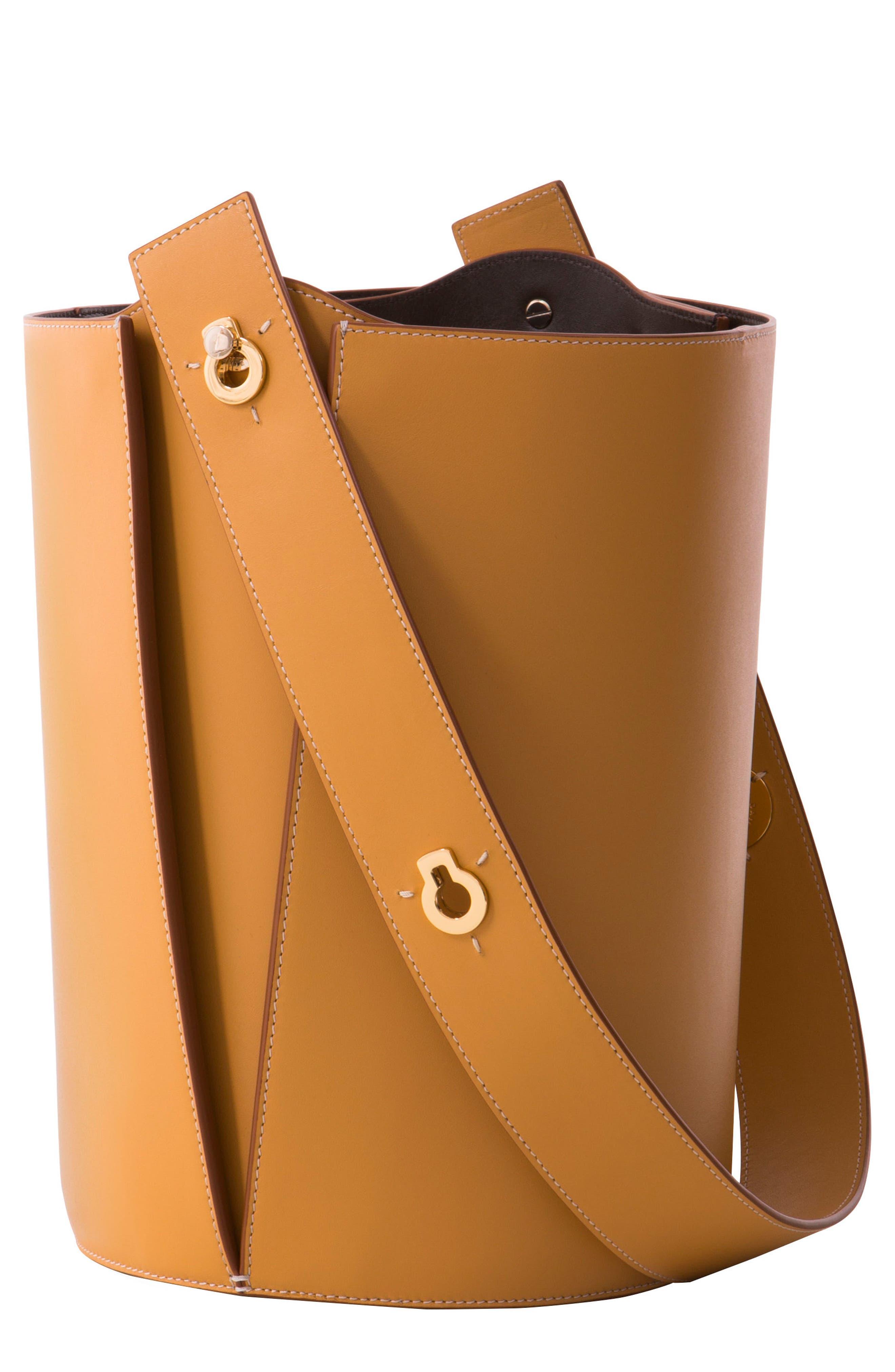 Mini Lorna Leather Bucket Bag, Main, color, SAND