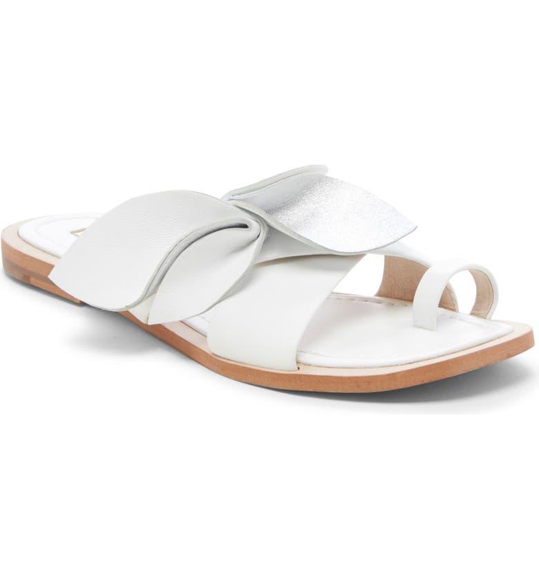 LOUISE ET CIE Amure Flat Sandal, Main, color, WHITE LEATHER