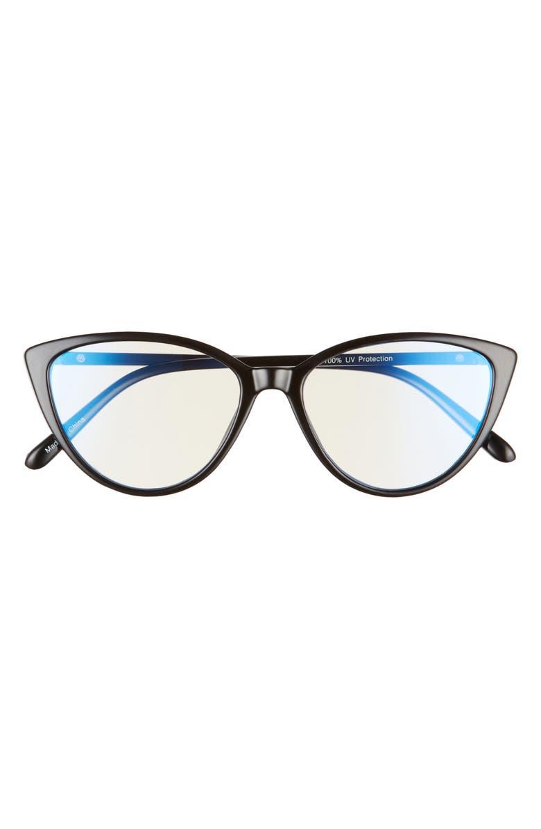 BP. 55mm Cat Eye Blue Light Blocking Glasses, Main, color, BLACK